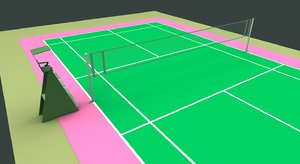 3d badminton court model