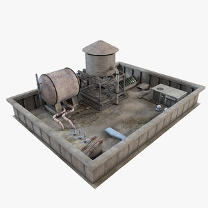 industrial rooftop environment roof 3d model