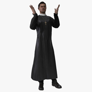 3d model priest rigged