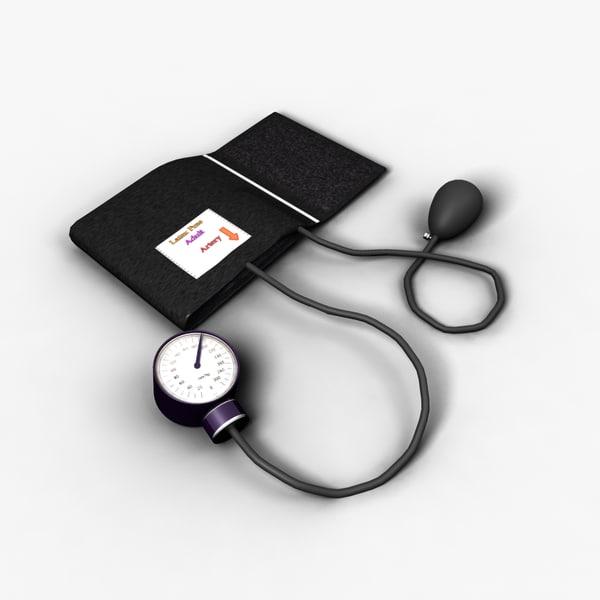 3d blood pressure cuff rigged model