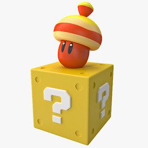 3d super mario acorn block model