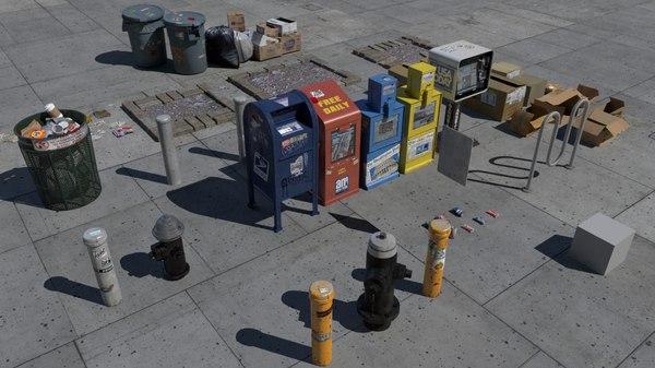 3d model nyc street items trash