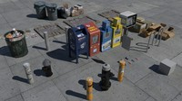 3d model nyc street items trash