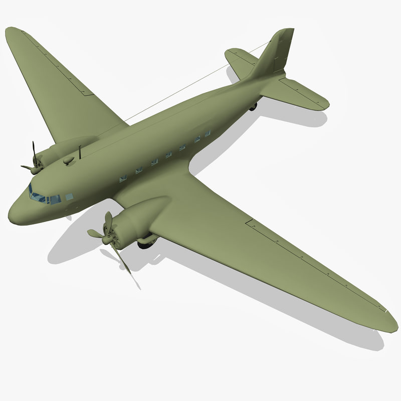 3d li-2 dc-3 aircraft