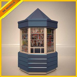 3d newspapers kiosk model