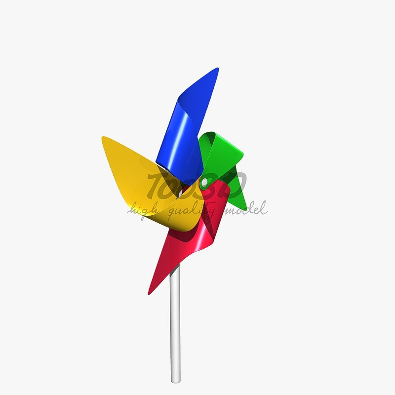 3d colorful windmill toy model
