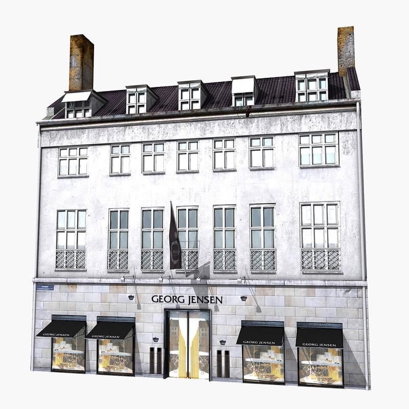 realistic european building 3d max