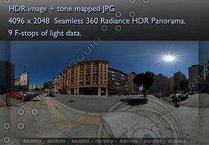 CITY STREET DAYTIME NO TRAFFIC 360 HDR PANORAMA #250