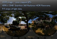 SUBURBAN STREET VIEW FROM UNDER TREES 360 HDR PANORAMA #317