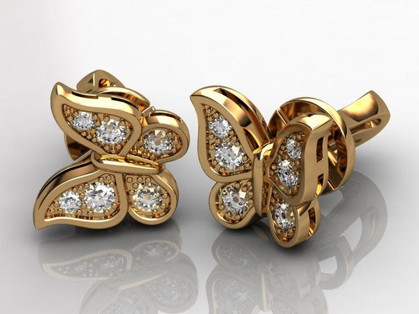 3d butterfly earrings model