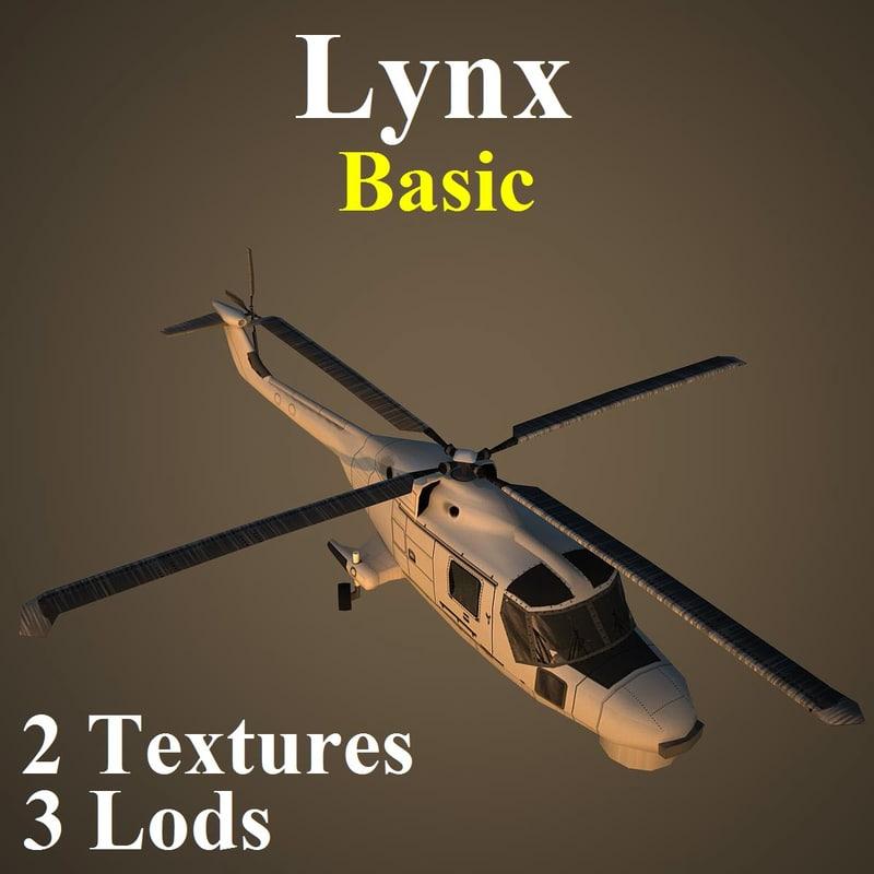 agustawestland lynx basic helicopter 3d model