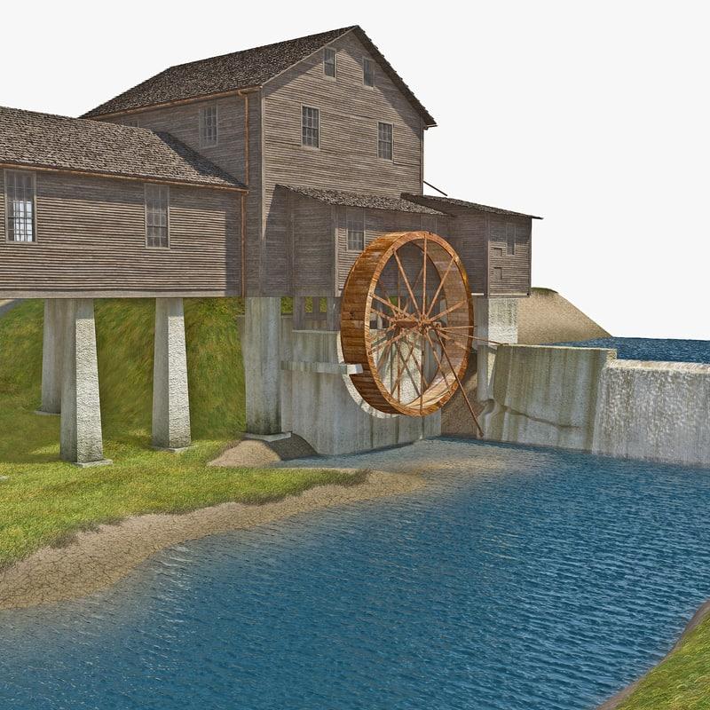 water wheel grass 3d model