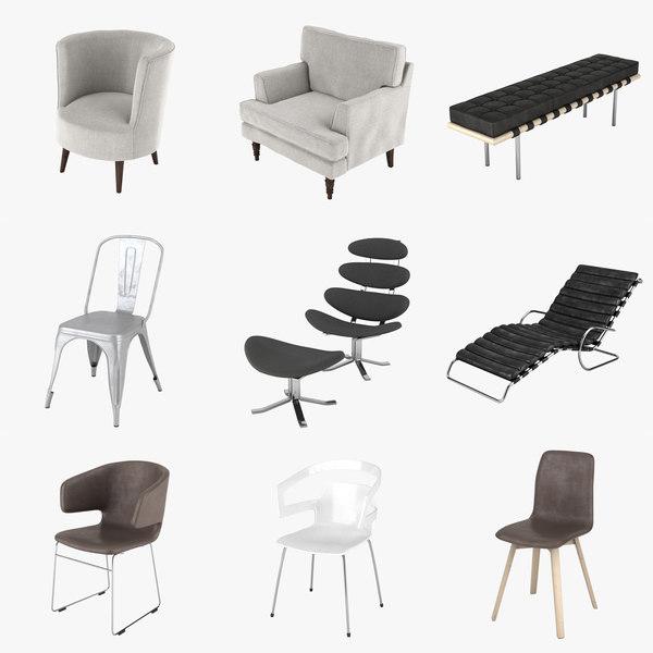 chairs mies van 3d max