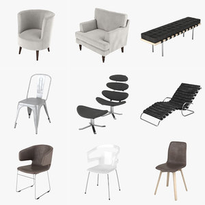 chairs mies van 3d max
