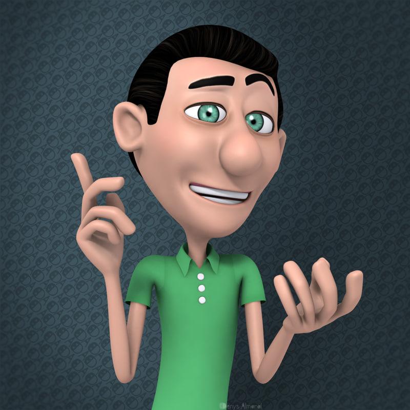 rigged cartoon character man 3d max