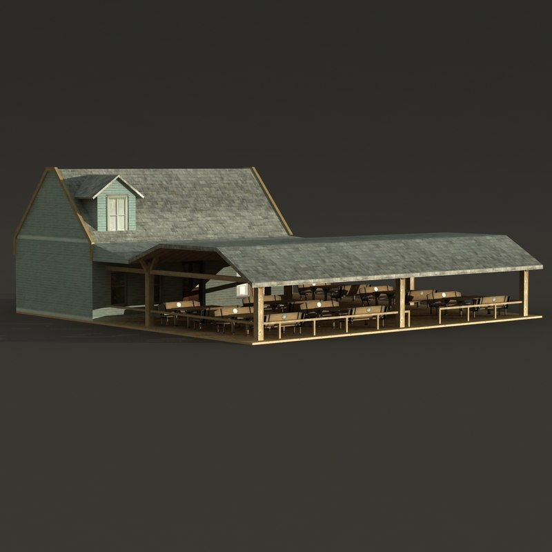 Good 3d Model Of Wood House Bar