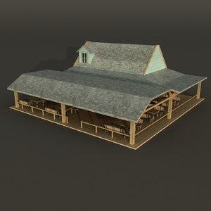 3d model of wood house bar