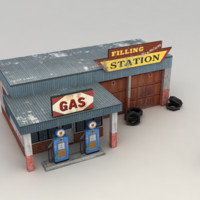 Gas station low poly