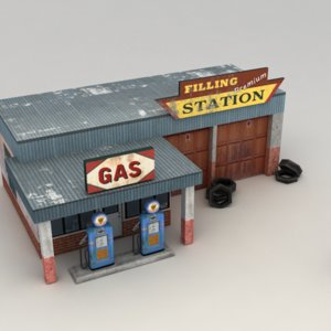 old gas station 3d max