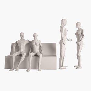pair figures 3d model