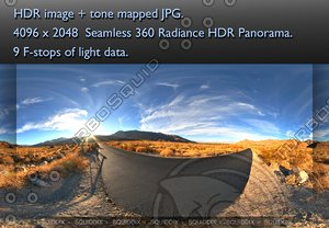 DESERT ROADSIDE AT SUNSET 360 HDR PANORAMA #258