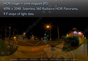 LOS ANGELES NIGHT TIME STREET SCENE 2 360 HDR PANORAMA # 283