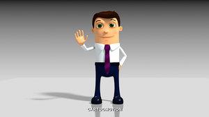 rigged cartoon business man 3d model