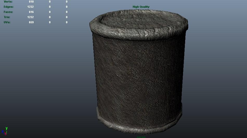 3d rusted barrel