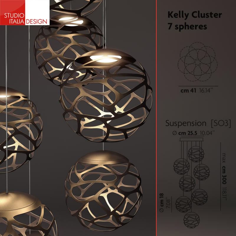 3d chandelier kelly cluster