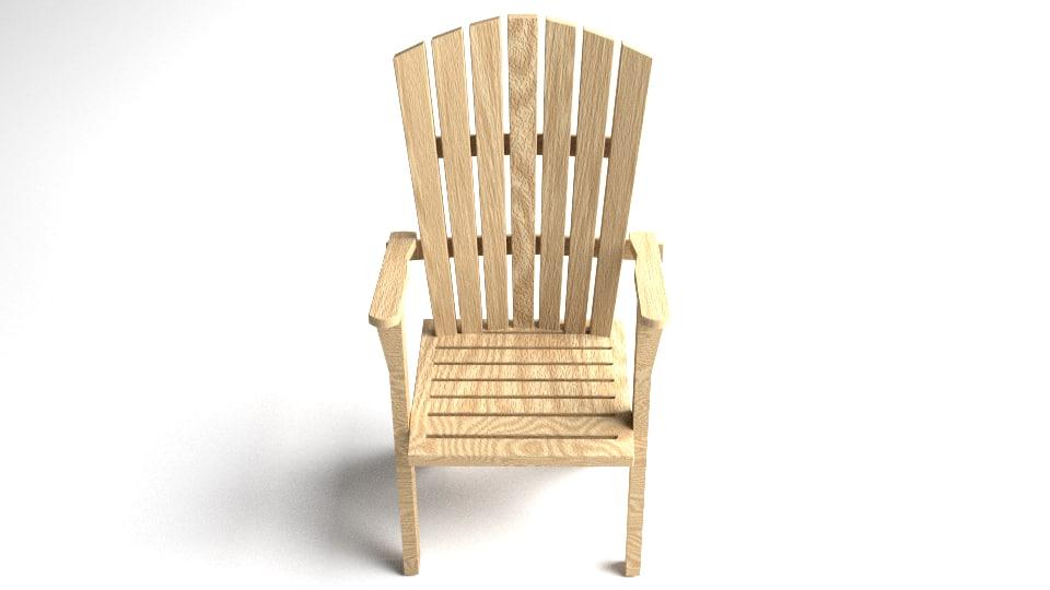 3d model wooden adirondack chair