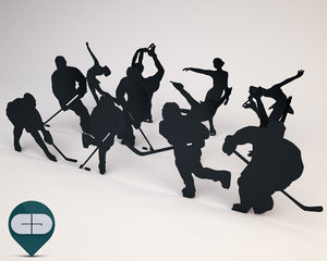 silhouette people 3d obj