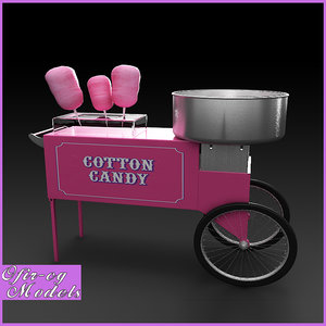cotton candy cart 3d model