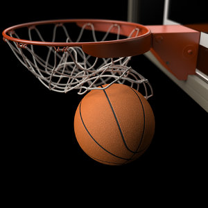 3d model basketball swooshing net