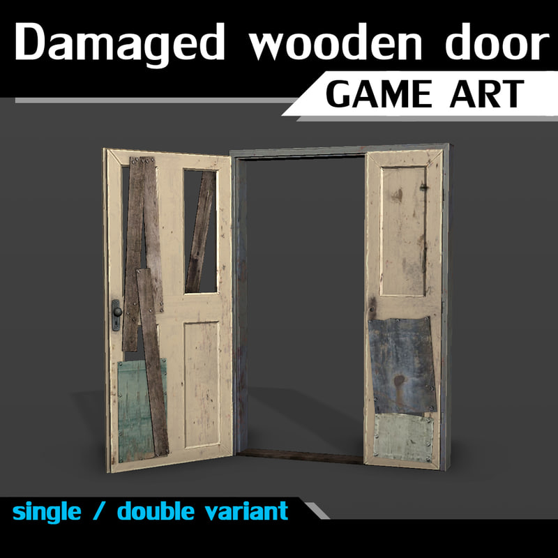 double damaged wooden doors 3ds