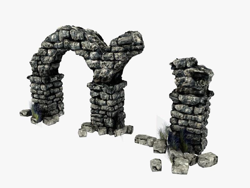 3d model ancient columns arch ruins