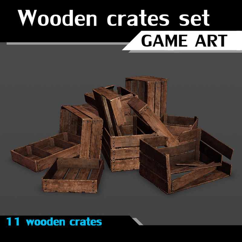 wooden crates set 3d model
