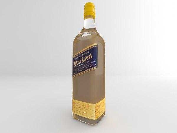 3d model of bottle blue label