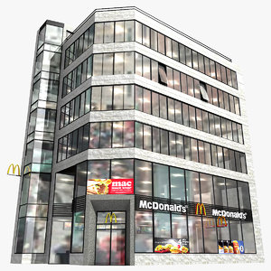 realistic modern building mcdonald s 3ds