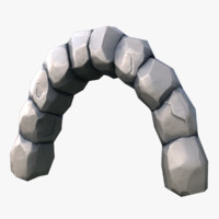 3d model ruined stone arch