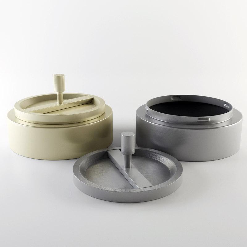 3d ashtray metalic model