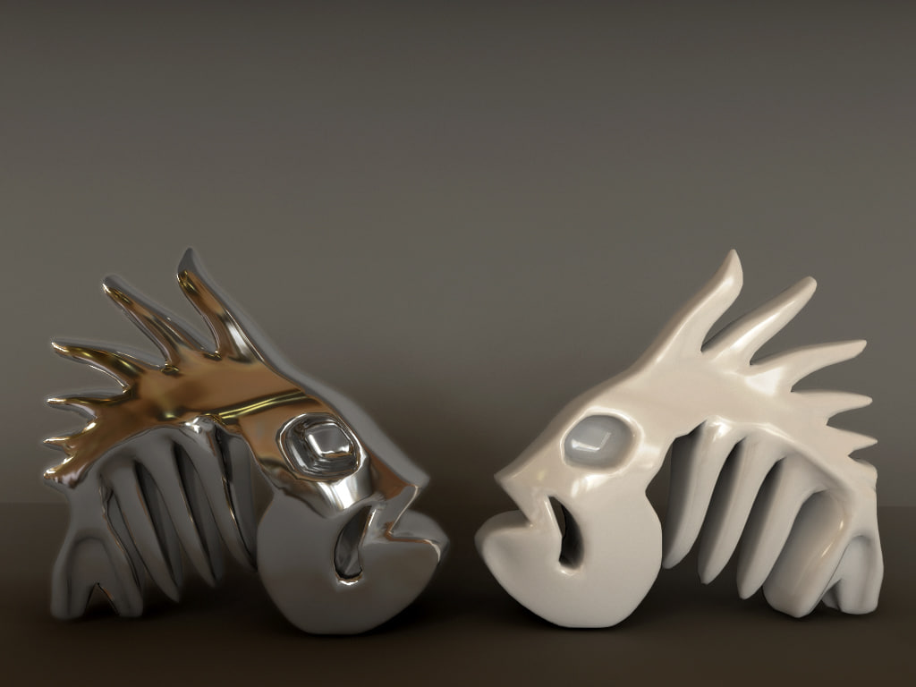 3d model figurine sceleton fish