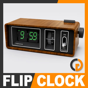 retro style alarm flip clock 3d model