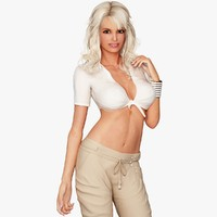 3d blonde woman character casual