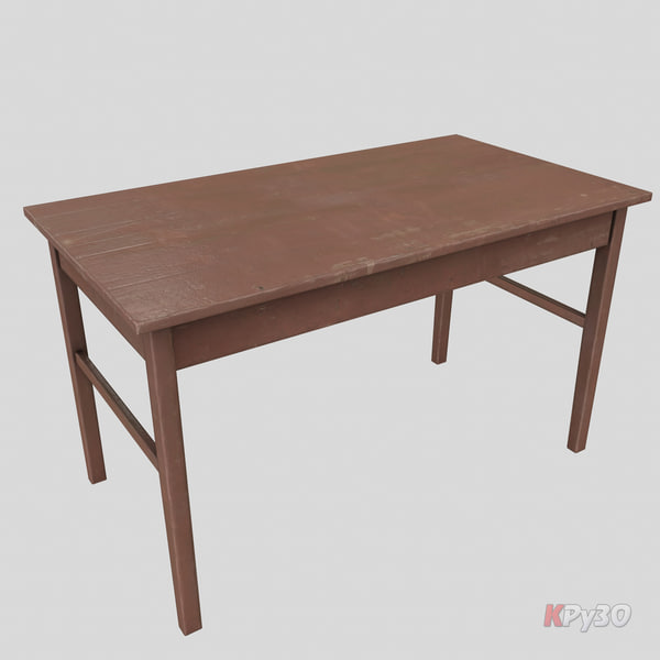 3d model table old wooden