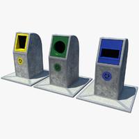 3d model recycling bins