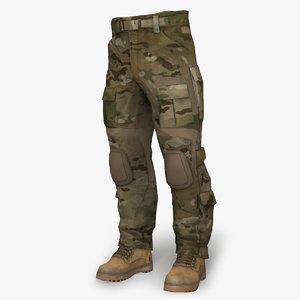 3d combat pant ac multicam model