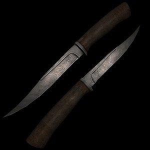 knife damascus steel 3d model