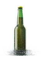 Beer Bottle with Water Drops and Water Splash