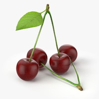 realistic cherries real fruit 3d model