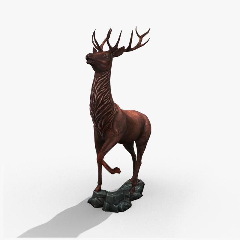 3d stag statue model